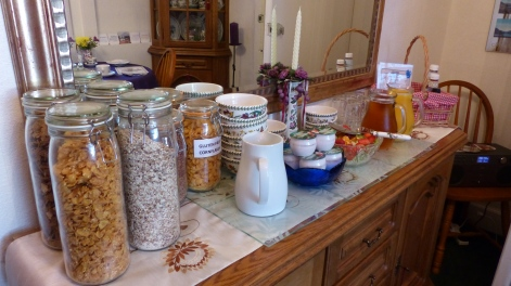 A selection of cereals, fruit, yogurt and juice was available on the buffet.