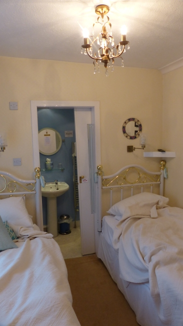 The girls' room-it was narrow, but the beds were comfortable and the bathroom was nice.