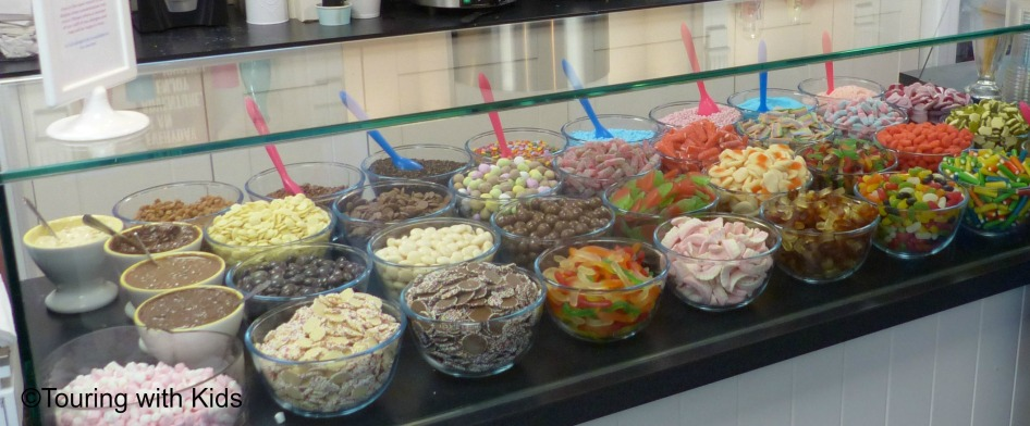 Lots of toppings and mix-ins. Our favorite was the Cadbury Cream Egg sundae. Perfect for Easter.