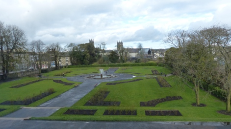 When we visited the grounds, we realized it had lightly rained while we were inside the castle.